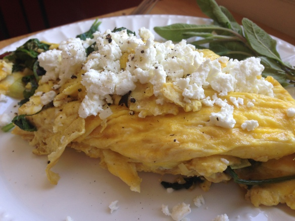 sage, arugula and leek omelette