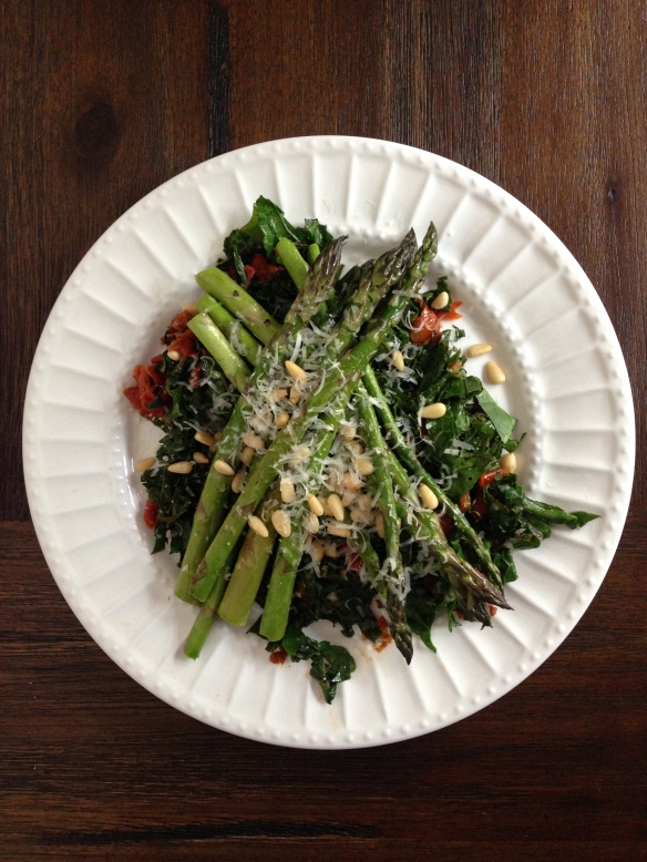 sauteed kale and asparagus salad