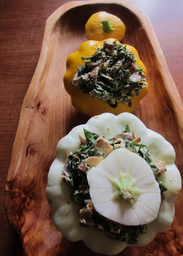 kale and mushroom stuffed pattypan squash